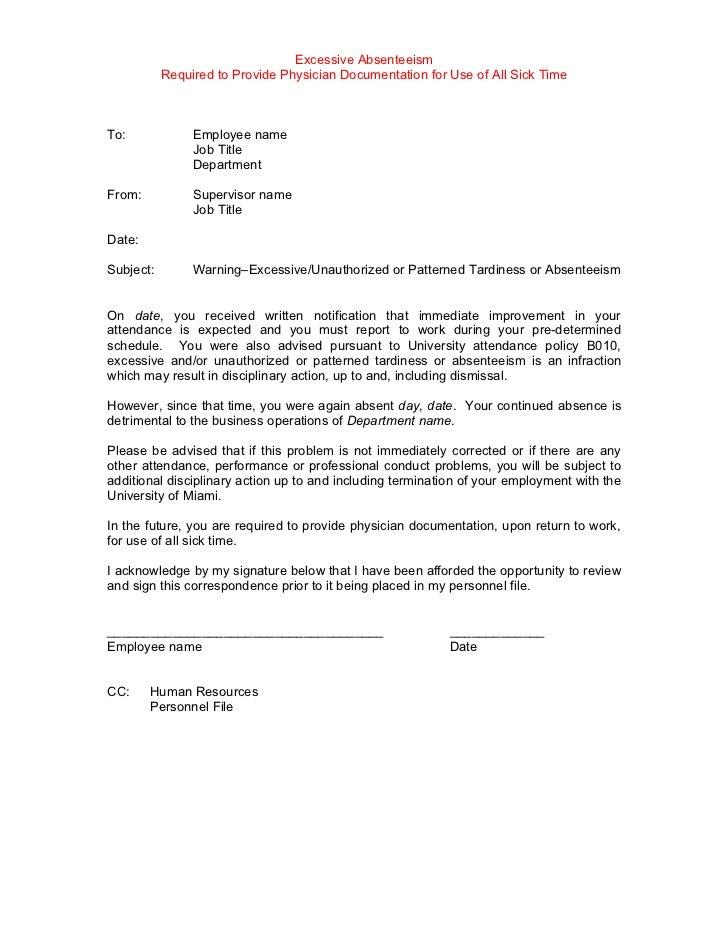 Sample Warning Letter For Employee Tardiness
