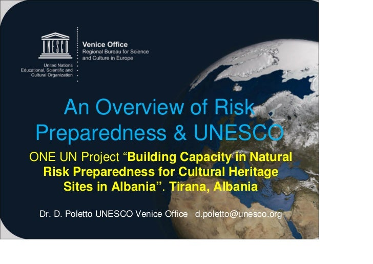 Template alb2011 final - An Overview of Risk Preparedness and UNESCO. /Davide Poletto, Assistant Programme Specialist, Science Unit - UNESCO Venice Office