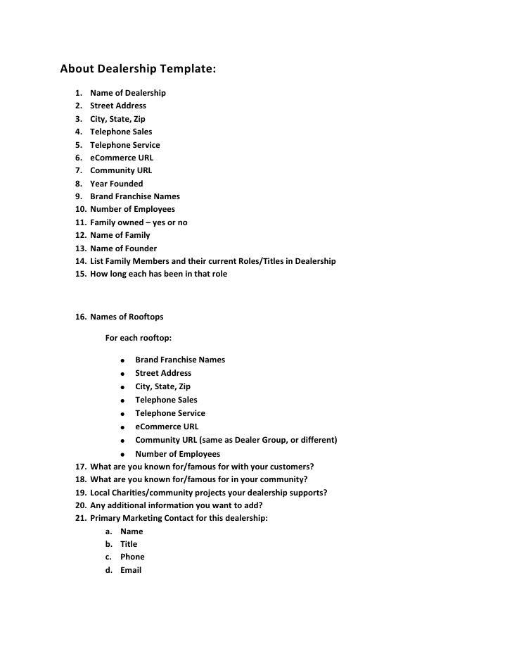 About Dealership Template:<br /><ul><li>Name of Dealership