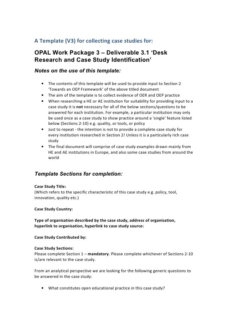 A Template (V3) for collecting case studies for: OPAL Work Package 3 – Deliverable 3.1 'Desk Research and Case Study Ident...