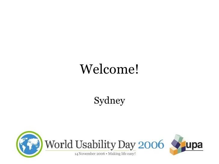 World Usability Day 2006 Opening Presentation