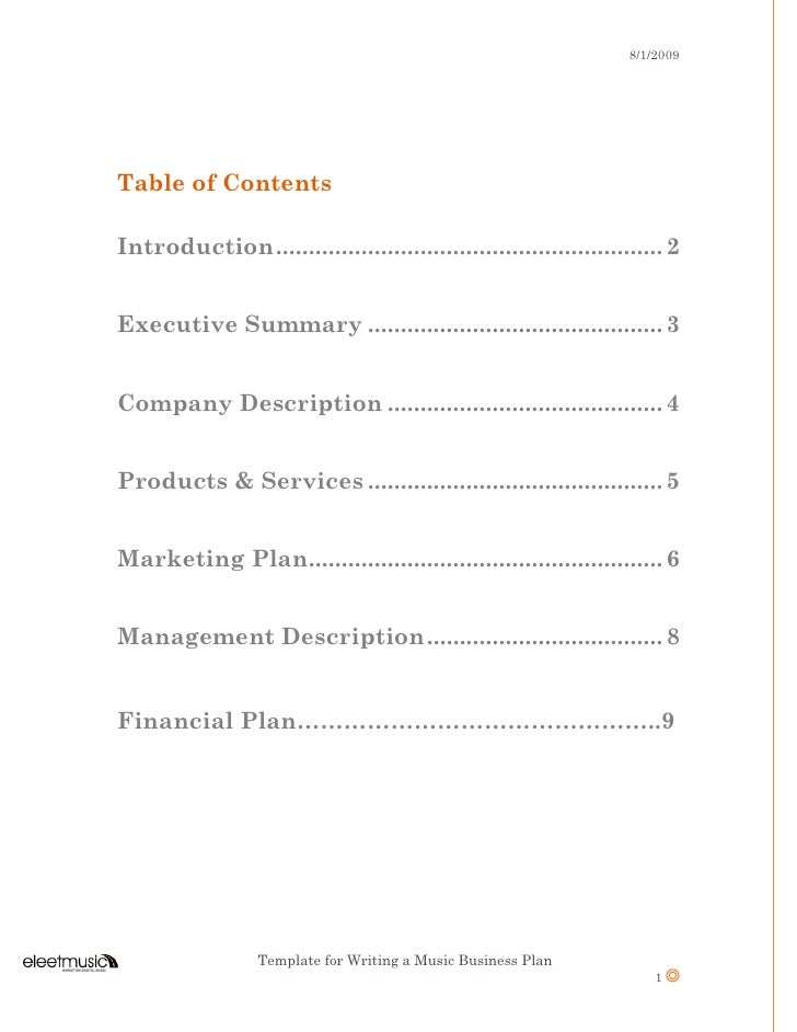 Table of contents for a business plan