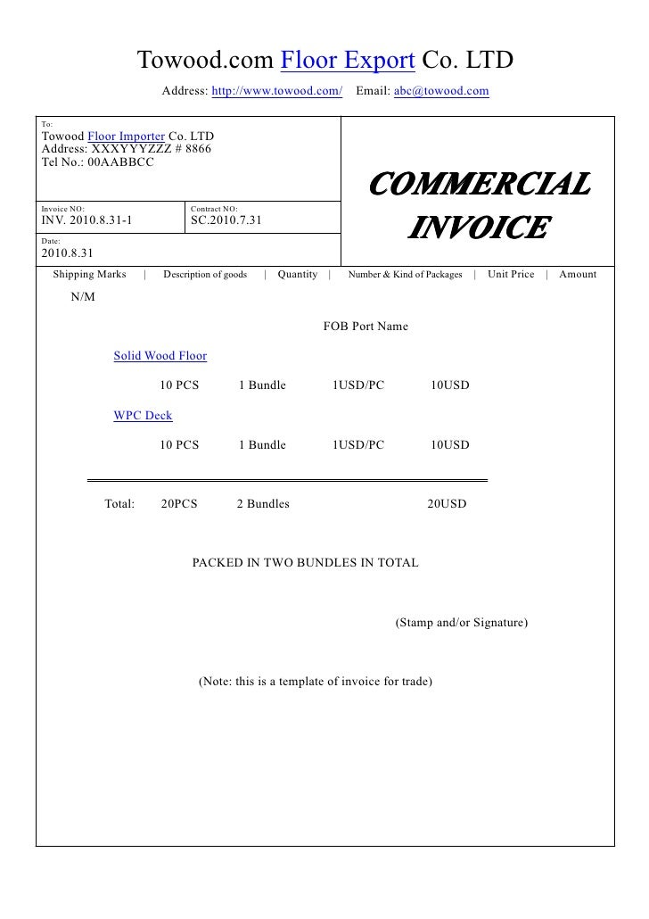 Template of commercial invoice, trade, export, import