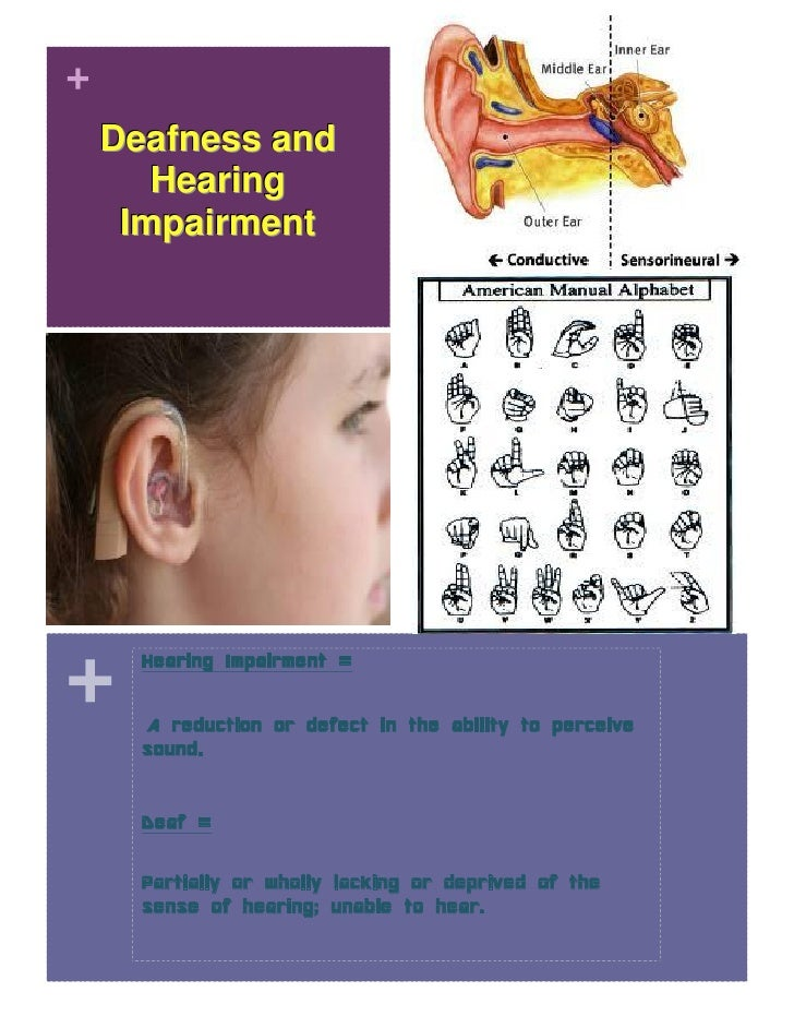 +    Deafness and       Hearing     Impairment+      Hearing Impairment =      A reduction or defect in the ability to per...