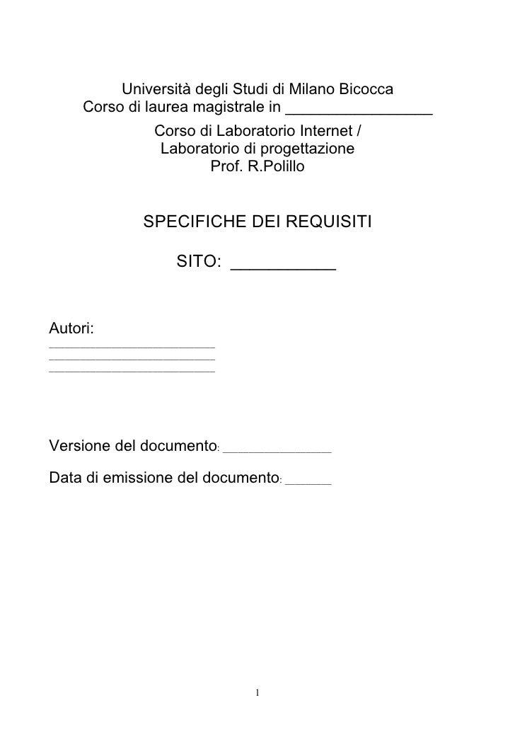 Template Documento dei requisiti