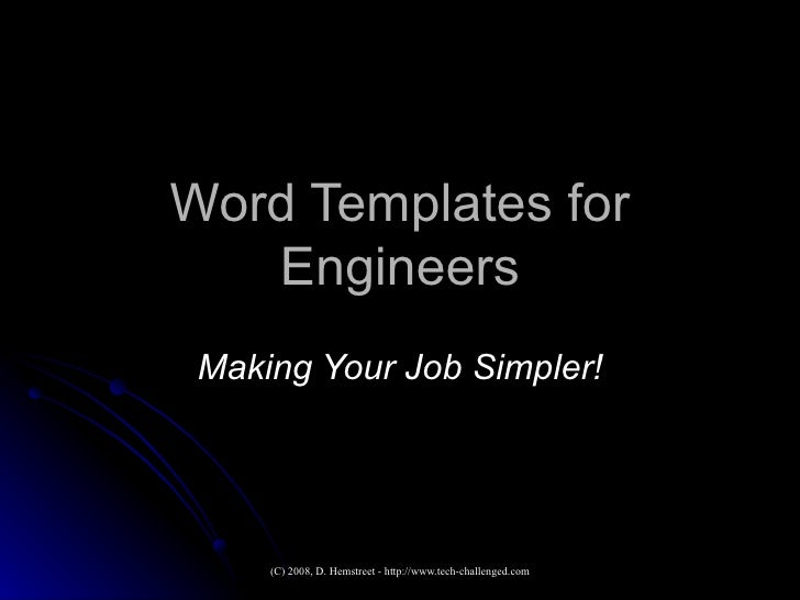 Word Templates for Engineers Making Your Job Simpler!