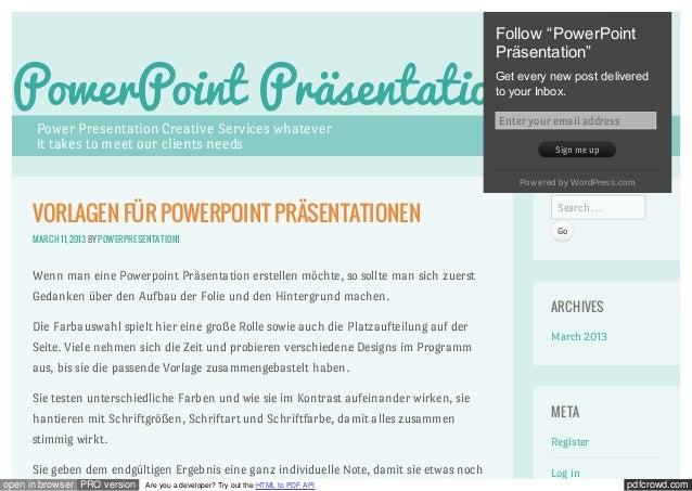 """Follow """"PowerPoint                                                                                            Präsentation..."""