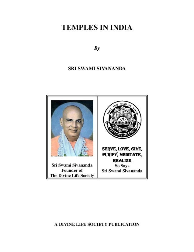 TEMPLES IN INDIA By SRI SWAMI SIVANANDA Sri Swami Sivananda Founder of The Divine Life Society 6(59(ñý/29(ñý*,9(ñ6(59(ñý/2...