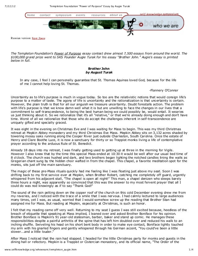 """7/22/12                          Templeton Foundation """"Power of Purpose"""" Essay by Augie Turak    Russian version: Брат Джо..."""