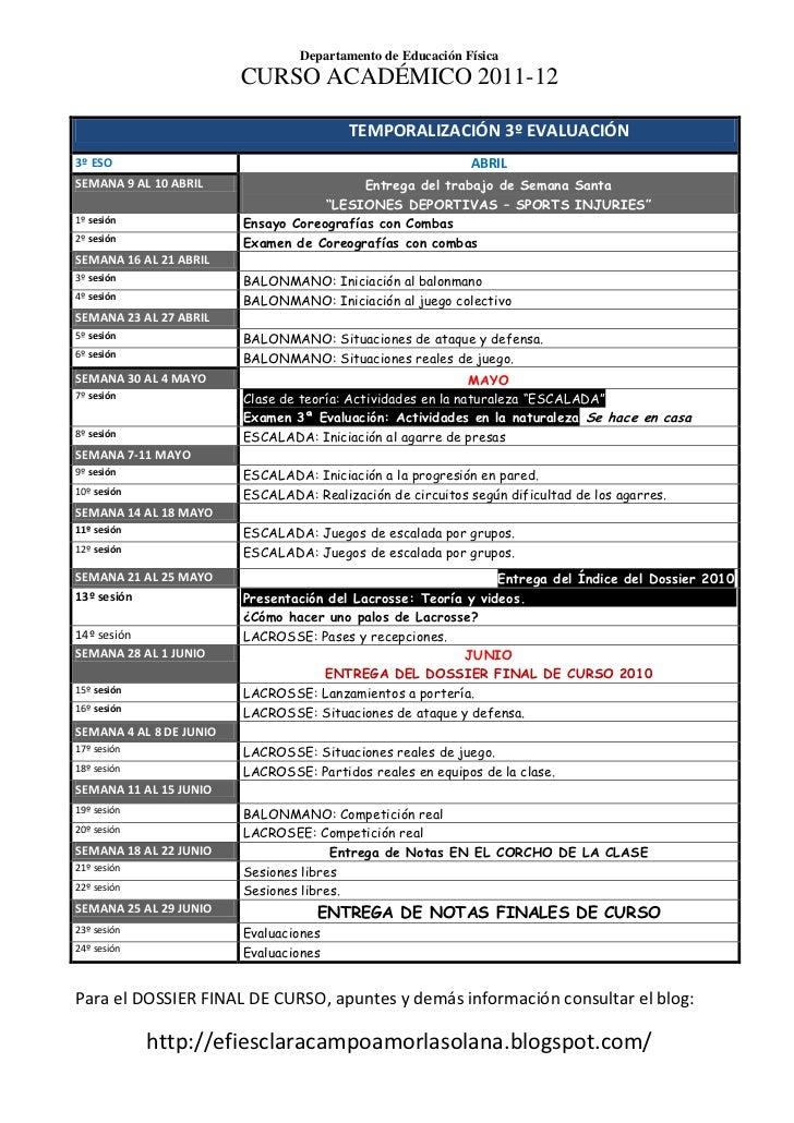 Temporalización 3ª Evaluación 3º ESO 2011 12