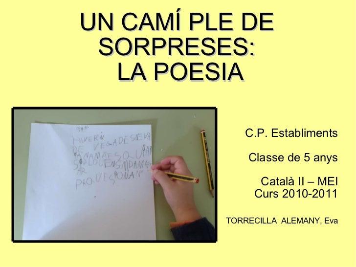 UN CAMÍ PLE DE SORPRESES:  LA POESIA C.P. Establiments Classe de 5 anys Català II – MEI Curs 2010-2011 TORRECILLA  ALEMANY...