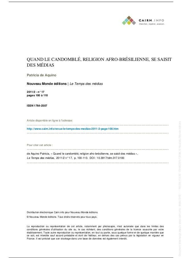 QUAND LE CANDOMBLÉ, RELIGION AFRO-BRÉSILIENNE, SE SAISIT DES MÉDIAS Patricia de Aquino Nouveau Monde éditions | Le Temps d...