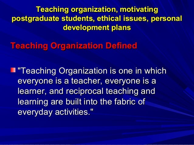 Yannis Markovits_Seminar_Teaching organization, motivating postgraduate students, ethical issues, personal development plans