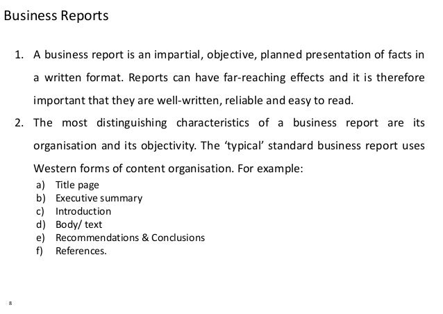 Write a business report