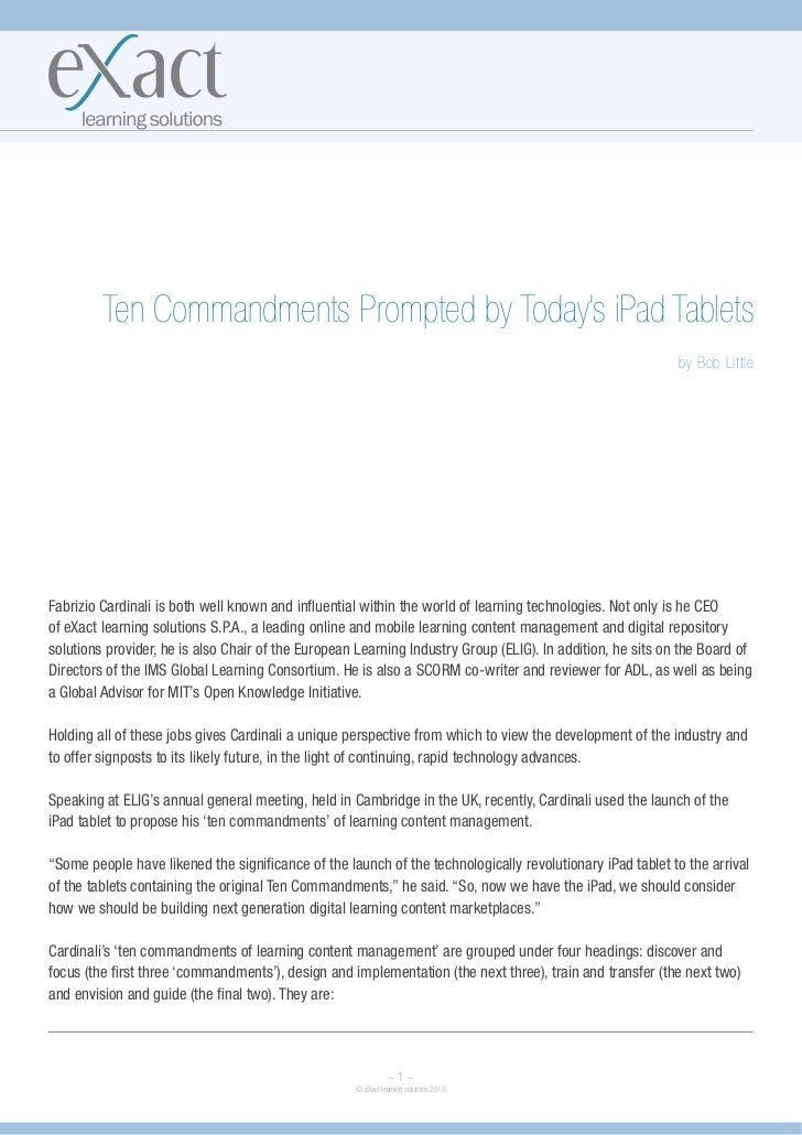 Ten Commandments Prompted by Today's iPad Tablets                                                                         ...
