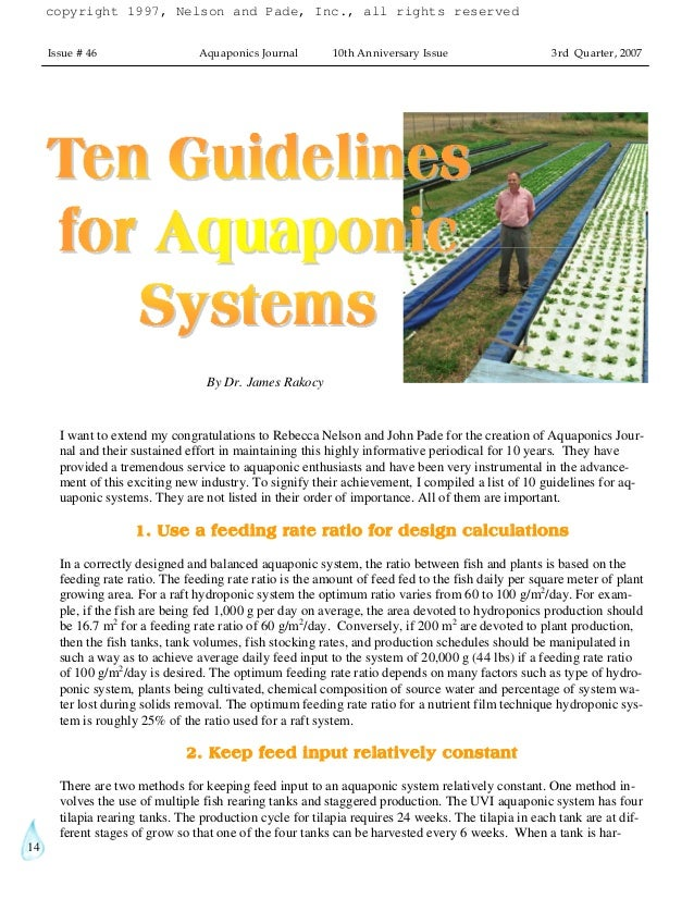 14 Issue # 46 Aquaponics Journal 10th Anniversary Issue 3rd Quarter, 2007 I want to extend my congratulations to Rebecca N...