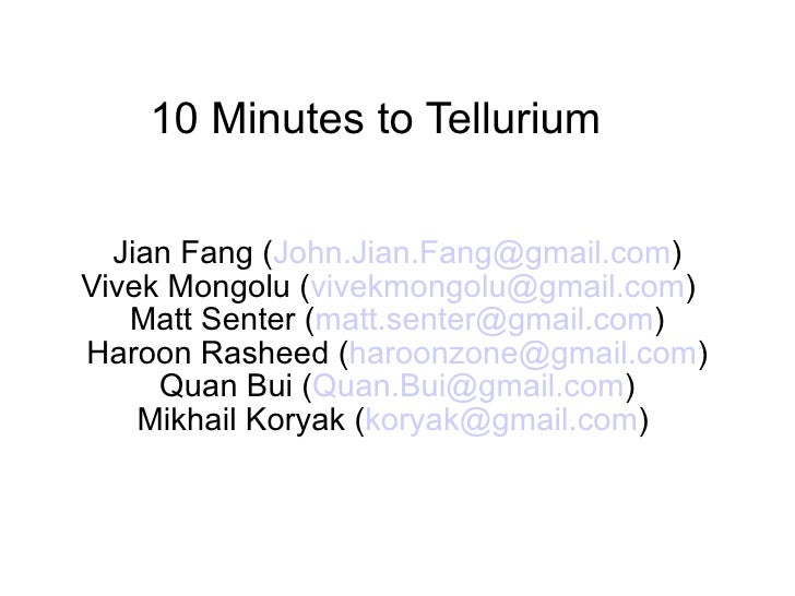 Ten Minutes To Tellurium