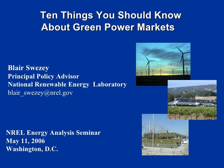 Blair Swezey Principal Policy Advisor National Renewable Energy  Laboratory [email_address] Ten Things You Should Know Abo...