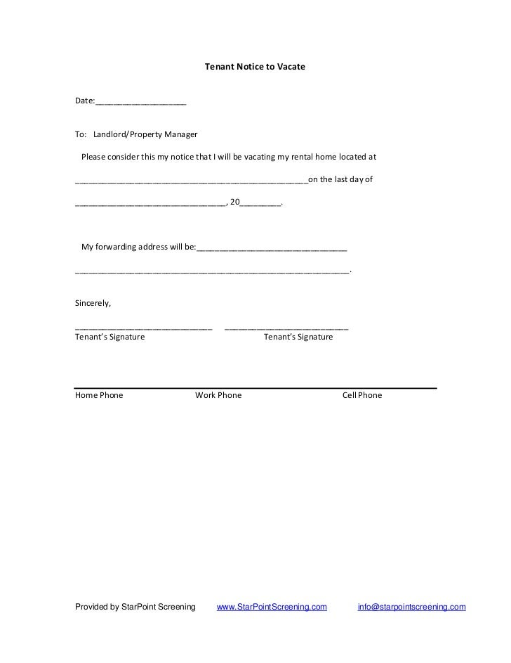 Vacate notice to tenant free printable documents for 60 day notice apartment template