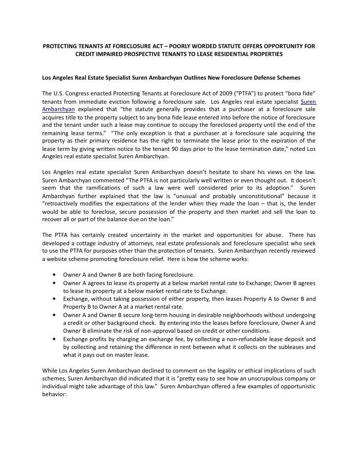 Protecting Tenant Rights at Foreclosure