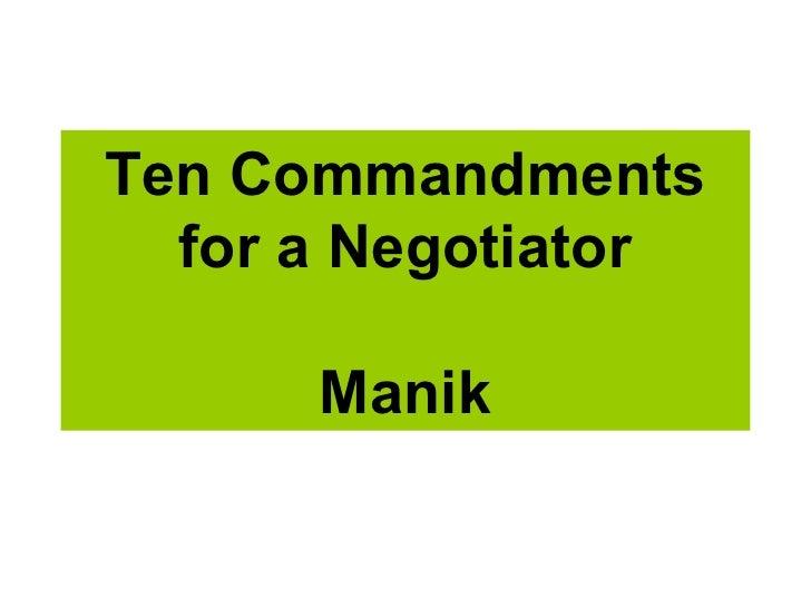 Ten Commandments For A Negotiator