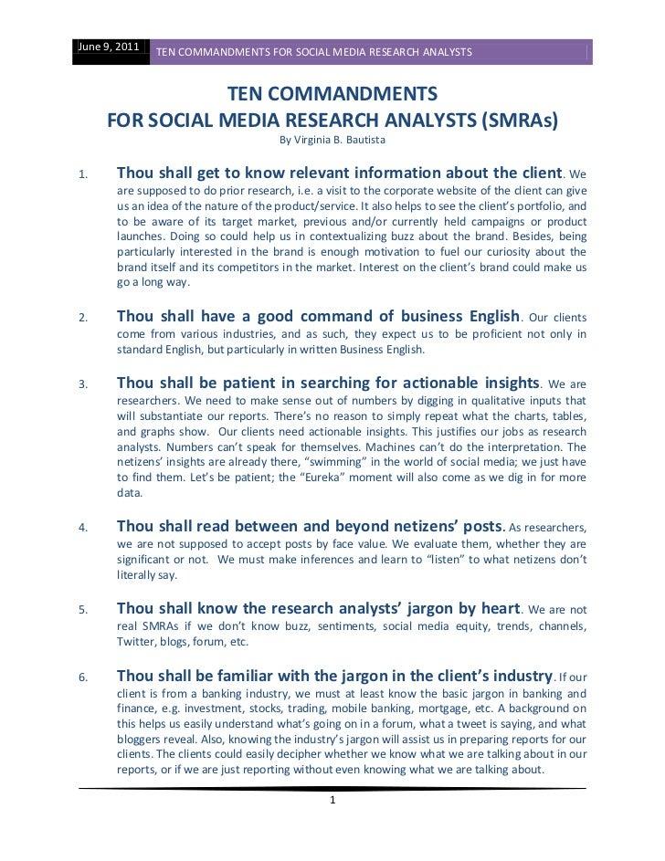 June 9, 2011   TEN COMMANDMENTS FOR SOCIAL MEDIA RESEARCH ANALYSTS                TEN COMMANDMENTS     FOR SOCIAL MEDIA RE...