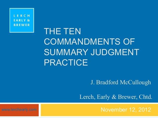 Ten commandments of summary judgment practice