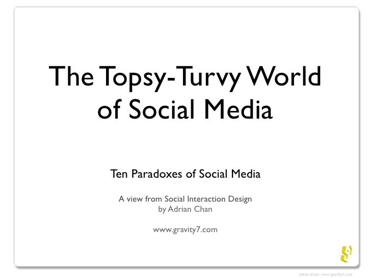 The Topsy-Turvy World     of Social Media      Ten Paradoxes of Social Media      A view from Social Interaction Design   ...