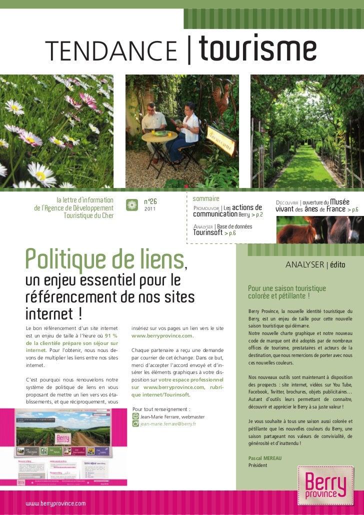 TENDANCE   tourisme             la lettre d'information                 n°26                  sommaire                    ...