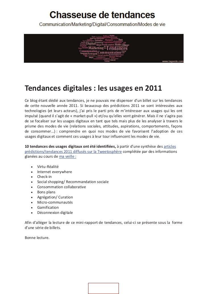 Tendances digitales les usages en 2011