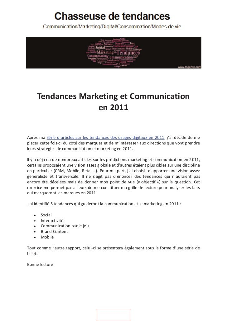 Tendances Marketing et Communication                     en 2011Après ma série d'articles sur les tendances des usages dig...