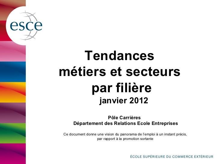 Tendancesmétiers et secteurs     par filière                     janvier 2012                  Pôle Carrières     Départem...