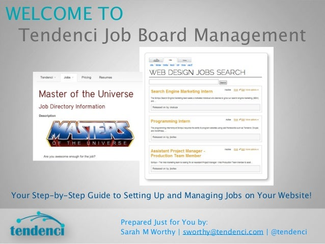 WELCOME TO Tendenci Job Board ManagementYour Step-by-Step Guide to Setting Up and Managing Jobs on Your Website!          ...