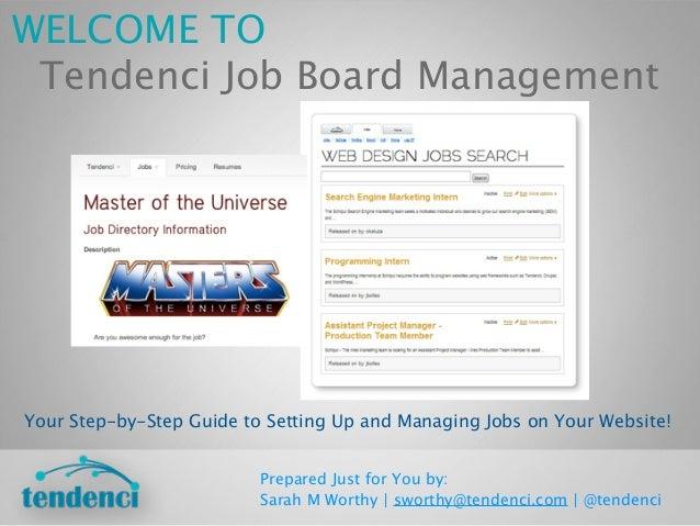Tendenci Job Board Management Training Guide