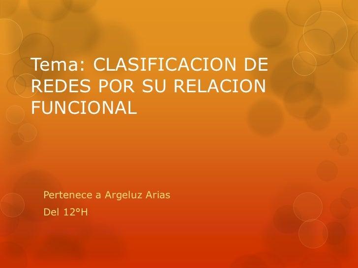 Tema: CLASIFICACION DEREDES POR SU RELACIONFUNCIONAL Pertenece a Argeluz Arias Del 12°H
