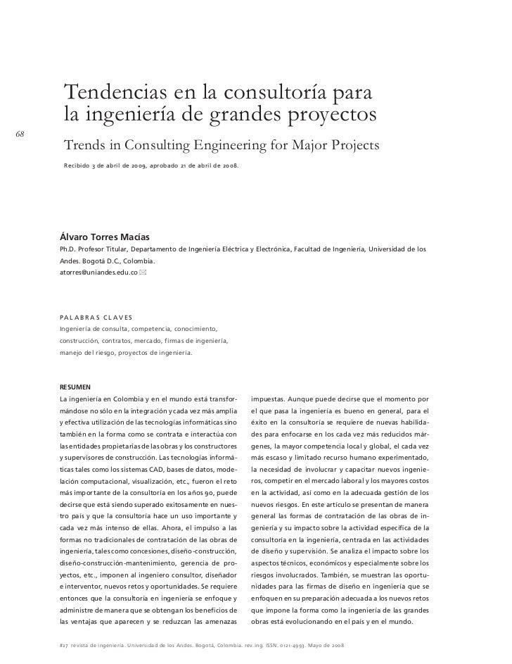 Tendencias en la consultoría para      la ingeniería de grandes proyectos68      Trends in Consulting Engineering for Majo...