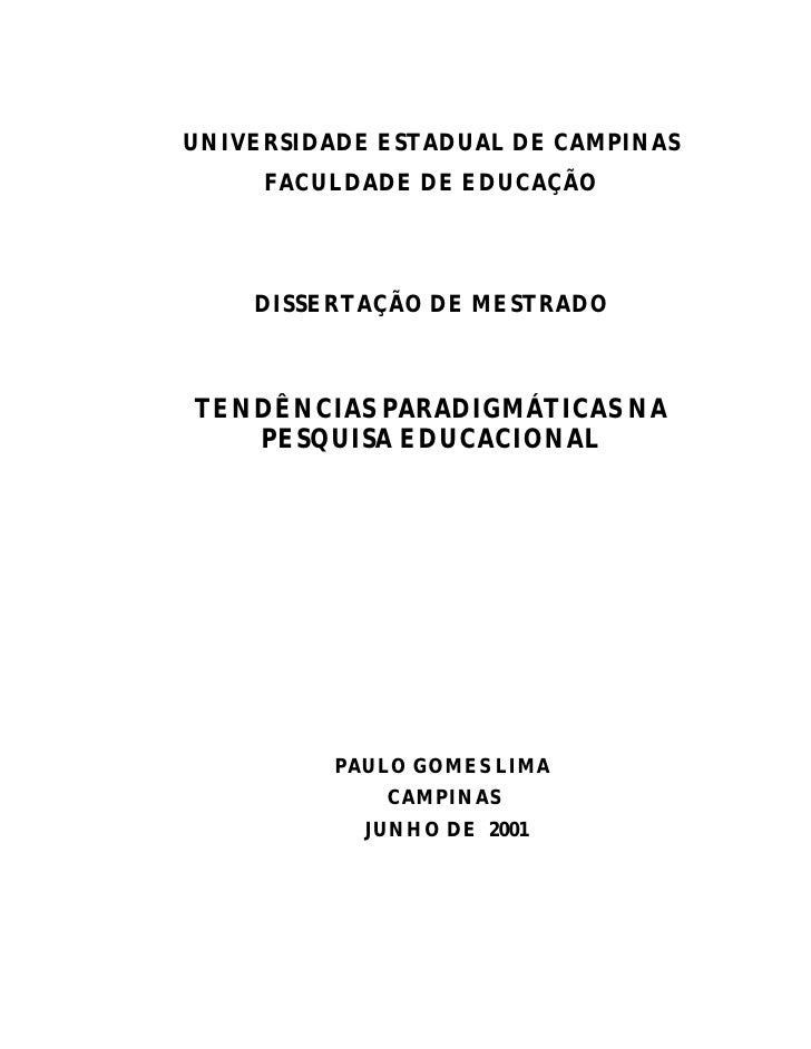 Tendencias paradigmaticas na pesquisa educacional   prof. dr. paulo gomes lima