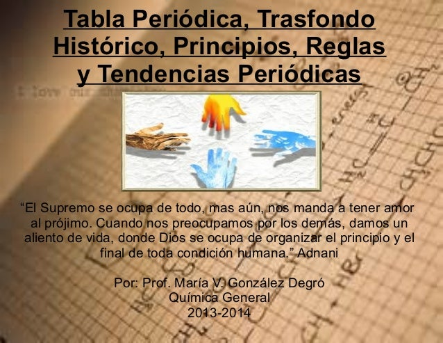 """Tabla Periódica, Trasfondo Histórico, Principios, Reglas y Tendencias Periódicas  """"El Supremo se ocupa de todo, mas aún, n..."""