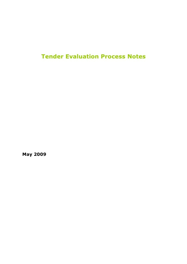 Tender Evaluation Process Notes     May 2009