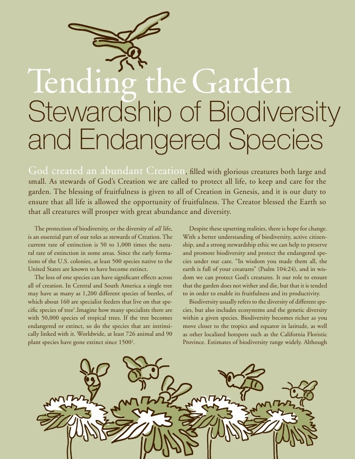 Tending the GardenStewardship of Biodiversityand Endangered SpeciesGod created an abundant Creation, filled with glorious ...