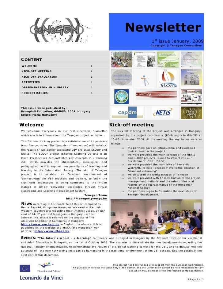 Tenegen newsletter 1st issue,  January 2009