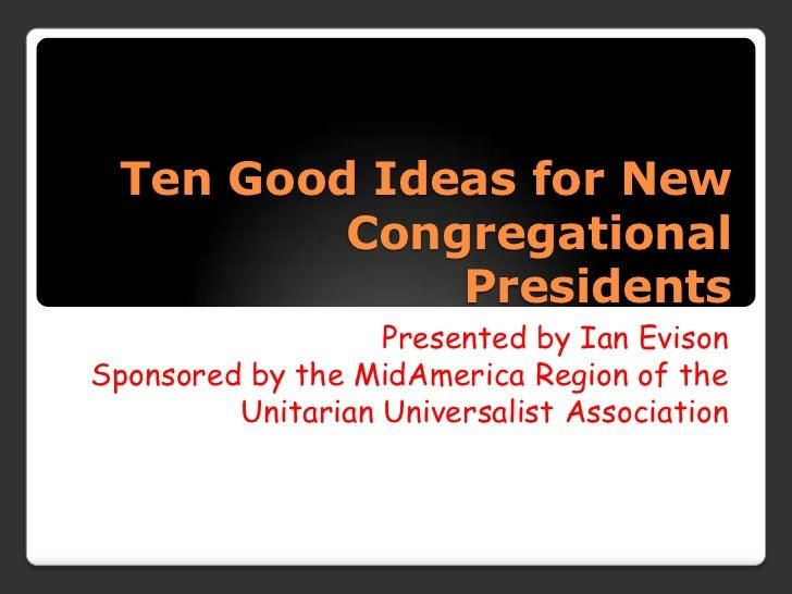 Ten good ideas for new board presidents