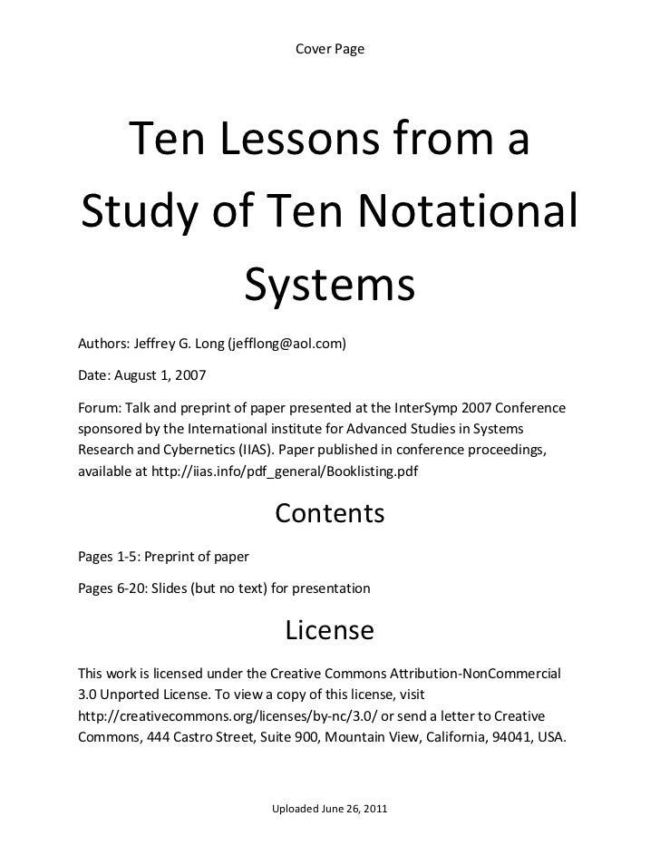 CoverPage      TenLessonsfroma    StudyofTenNotational           SystemsAuthors:JeffreyG.Long(jefflong@aol...