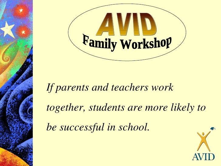 AVID If parents and teachers work together, students are more likely to be successful in school. Family Workshop