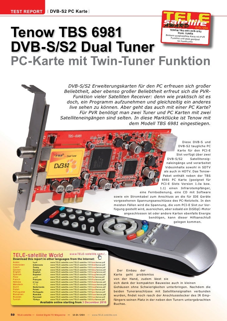 TEST REPORT                   DVB-S2 PC KarteTenow TBS 6981                                                               ...