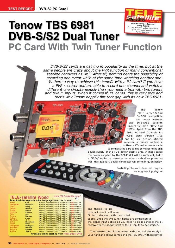 TEST REPORT                   DVB-S2 PC CardTenow TBS 6981                                                                ...