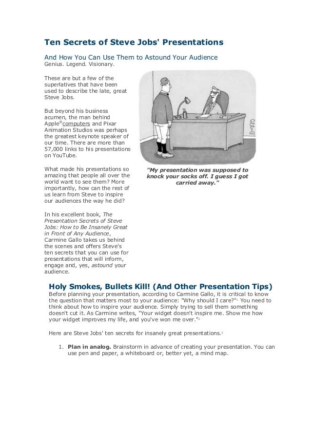 Ten secrets of steve jobs' presentations