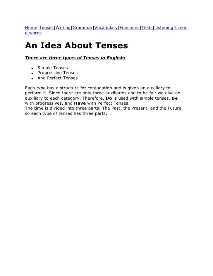 Home|Tenses|Writing|Grammar|Vocabulary|Functions|Tests|Listening|Linking wordsAn Idea About TensesThere are three types of...