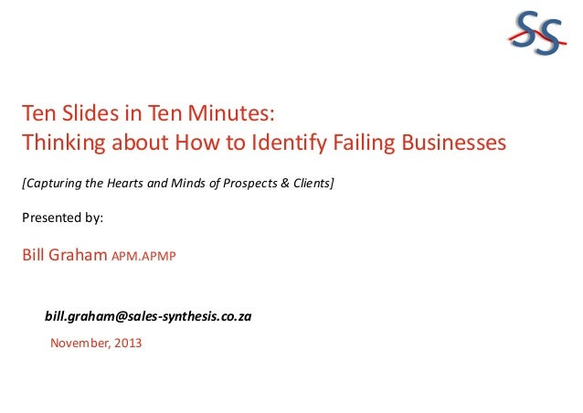 SS Ten Slides in Ten Minutes: Thinking about How to Identify Failing Businesses [Capturing the Hearts and Minds of Prospec...