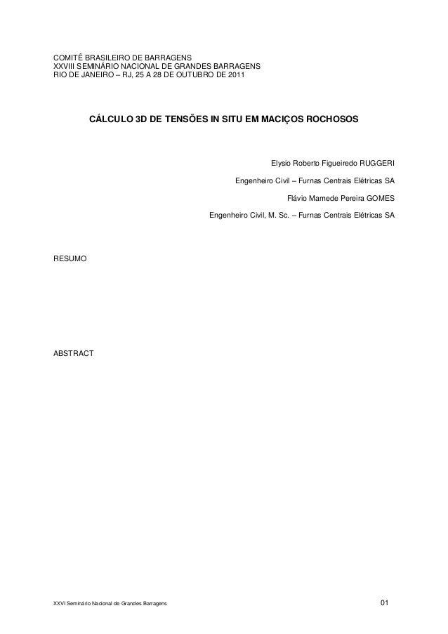 XXVI Seminário Nacional de Grandes Barragens 01COMITÊ BRASILEIRO DE BARRAGENSXXVIII SEMINÁRIO NACIONAL DE GRANDES BARRAGEN...